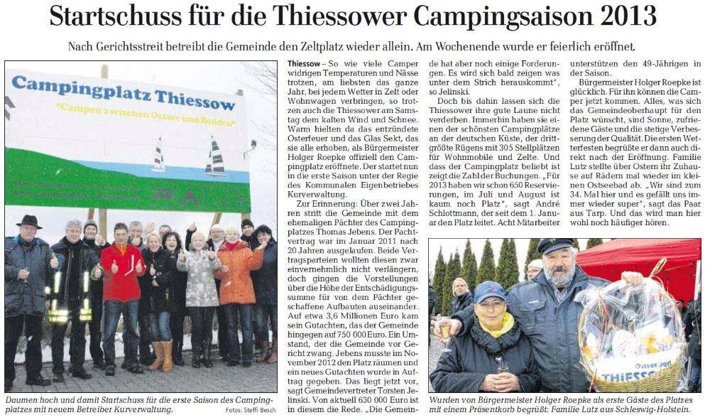 Zeitungsbericht zum Start der neuen Campingsaison in Thiessow