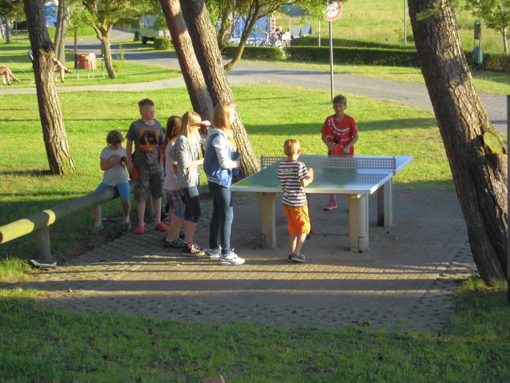 Kinder spielen auf dem Campingplatz Thiessow Tischtennis