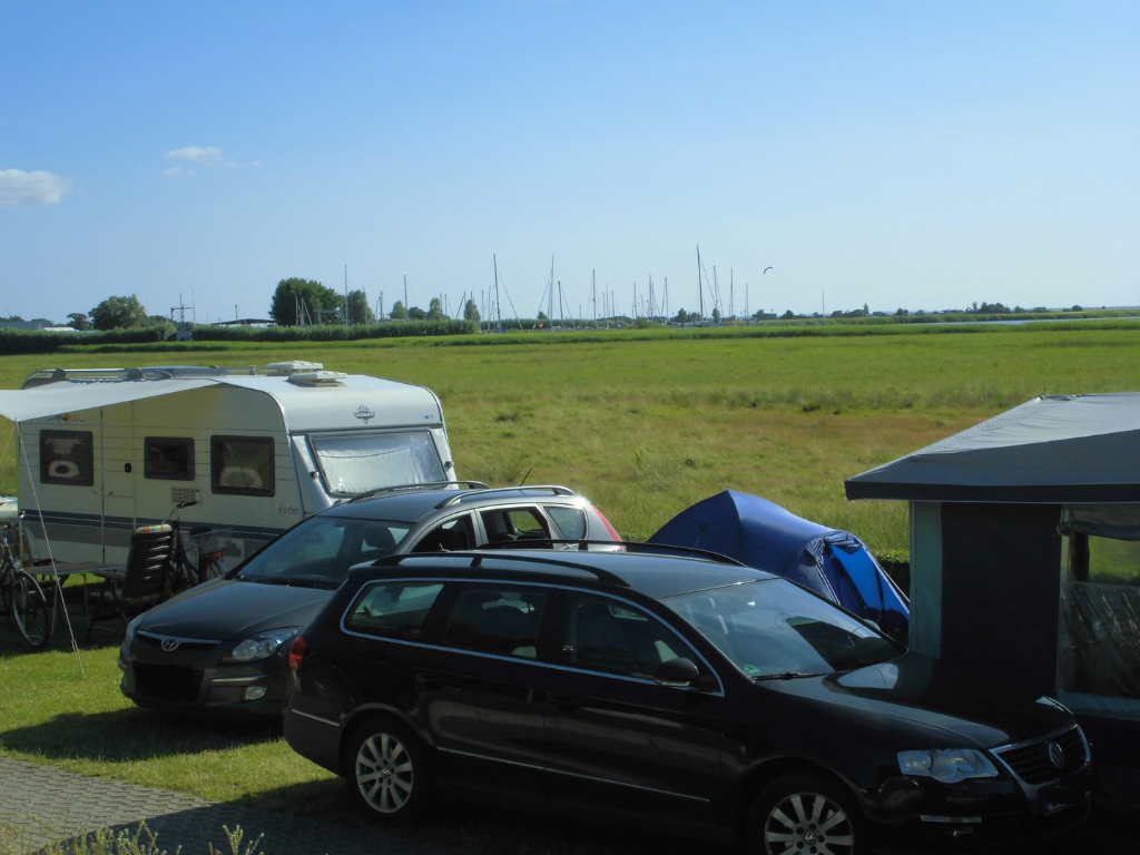 Schöne Aussicht vom Campingplatz Thiessow in Richtung Thiessower Hafen